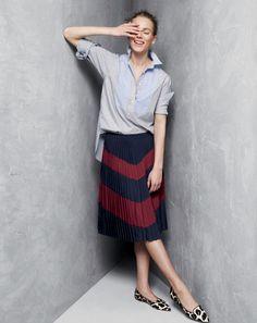 J.Crew women's bib popover shirt, pleated chevron skirt.