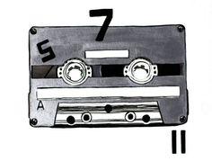GREY Tape CASSETTE  print of original illustration by Henneberg, $29.00