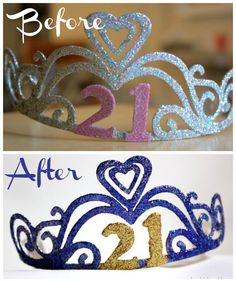 21st Birthday Gift. Upgraded tiara using #modpodge #glitter #alcoholink.  #goldandpurple