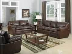 THIS WEEKEND-- Get HUNDREDS off your favorite pieces like this 5-Piece Leather Living Room Set!