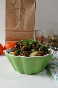 Cucumber and Tomato Lentil Salad - A healthy, feel good salad made with steam lentils, cucumber, tomato, celery and scallions and topped with a balsamic dressing.