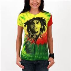 This tie dye Catch A Fire Women's Tee features a classic Bob photo with the rasta colors of red, gold and green in a vibrant tie dye print.