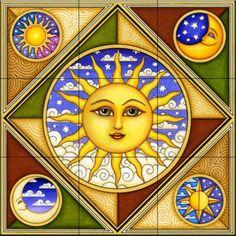 Celestial Sun Face Illustration Art