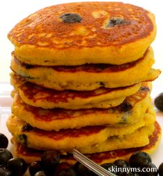 Pancakes can be made gluten-free!  I have these Gluten-Free Blueberry Pancakes a couple times a month--so delicious!  #pancakes #blueberrypancakes #glutenfree