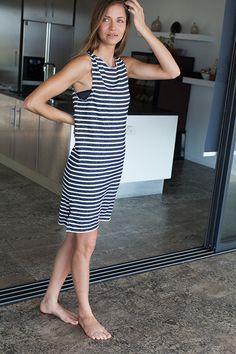 Raw Edge Dress - Marine Stripe   Emerson Fry