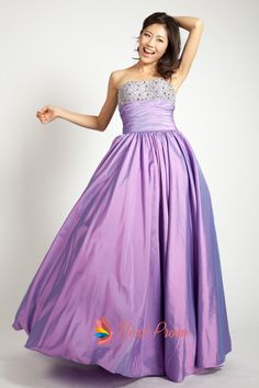 Purple Strapless Sweetheart Ball Gown, Purple Beaded Strapless Prom Dress, Strapless Taffeta Gown With Beaded Embellishment