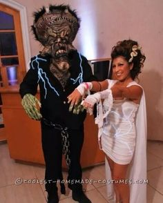 Homemade Costumes for Couples: Cool Bride of Frankenstein and Frankenstein Couple Costume... Coolest Halloween Costume Contest