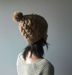 Hand Knitted Cable Chunky Beanie in Camel  Beanie by naryaboutique, $29.00