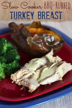 Slow Cooker BBQ Rubbed Turkey Breast | cupcakesandkalechips.com | #slowcooker #crockpot #turkey