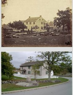 The Trostle Farm at Gettysburg -- just after the battle and now. [Many people tend to forget that thousands of horses were casualties.]