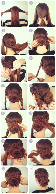 2 inside out french braids + 1 bun. Step by step tutorial on | http://lovelylonghairstyles.blogspot.com
