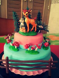 2 Tier forest Bambi cake