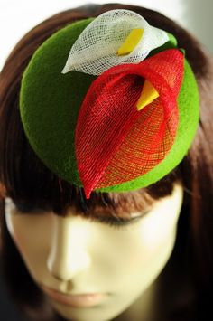 felt cocktail hat with flowers
