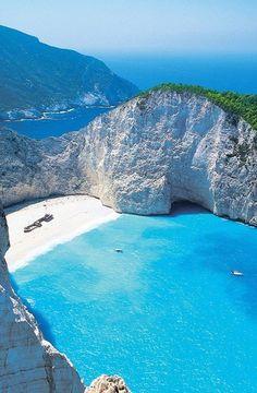 Zakynthos, Greece #beach #getaway #secluded #blue