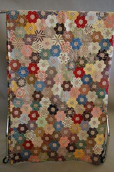 antique quilts, quilt top, hexagon