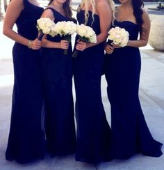 Long navy bridesmaid dresses with subtle differences