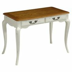 """Showcasing Queen Anne-style legs and brass hardware, this 2-drawer desk brings elegant style to your living room or home office.  Product: Writing deskConstruction Material: Poplar solids, engineered wood and oak veneersColor: White and naturalFeatures:  Two drawersBrass hardwareDimensions: 30"""" H x 42"""" W x 24"""" D"""