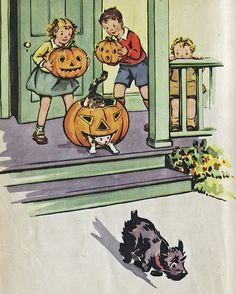 What a darling vintage Halloween illustration (love the kitty climbing through the jack-o-lantern!). #vintage #book #children #kids #Halloween #1940s