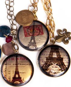 Lockets made from vintage Paris collages. Images available on etsy: https://www.etsy.com/listing/62749515/digital-collage-sheet-image-cd-1601 Lockets from: http://www.abeille.us/shop/parisian-style-emetsbellished-locket/