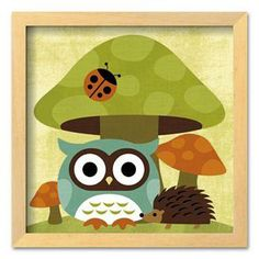 Art.com Owl and Hedgehog Framed Art Print by Nancy Lee
