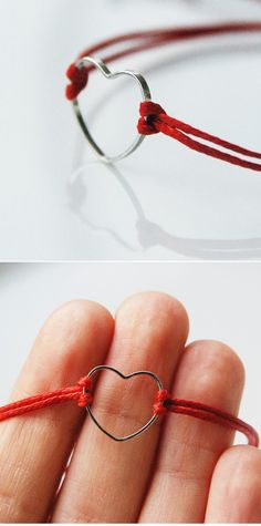 DIY simple heart bracelet