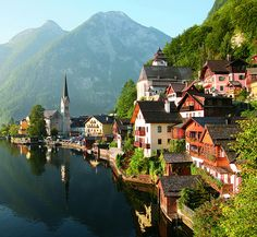 Hallstadt am Hallstaetter. Rent a car and drive the Romantic Road from Vienna to Salzburg
