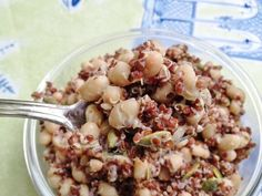 Red Quinoa, Pumpkinseed, and Tahini Salad (use sea salt for soy free)