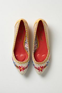 Posy-Stitched Skimmers #anthropologie