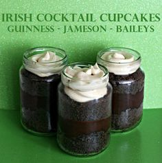 Irish Cocktail Cupcakes in a jar. Hello St Paddy's day.