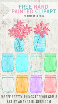 Free Mason Ball Jar Clip Art by Amanda Hilburn