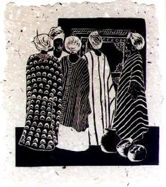 Catching Up, Anne Moore, linocut