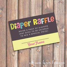 Funky Letters - Girl - Baby Shower Diaper Raffle Tickets - INSTANT DOWNLOAD