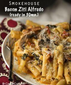 Smokehouse Bacon Ziti Alfredo Ready in 30 Minutes!