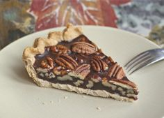 Chocolate Pecan Pie made from whole foods ingredients and natural sweeteners. Vegan.