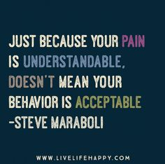 Just because your pain is understandable, doesn't mean your behavior is acceptable. -Steve Maraboli