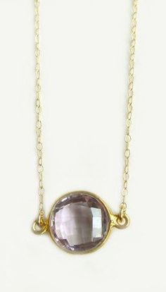 Sola Necklace with Purple Amethyst on Gold filled