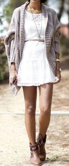 White knit dress. Chunky sweater.