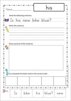 Sight Words - Cut and Paste Worksheets (Grade One Sentences)