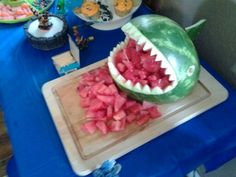 Terafins watermelon for our skylander party or maybe chompees