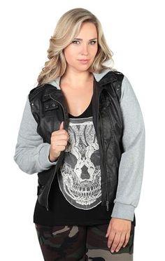 Deb Shops plus size leather zip jacket with fleece sleeves and hood $39.90