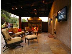 backyard retreat outdoor fireplace home and garden design idea 39 s more