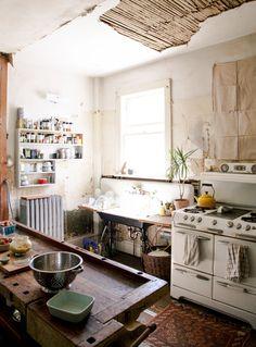 #kitchen #stove #shelves #table