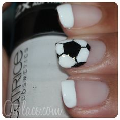 soccer nails...soccer ball on pointer and # on thumb