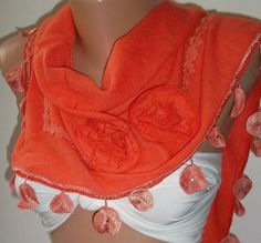 Orange  / Elegance  Shawl by womann on Etsy, $19.90