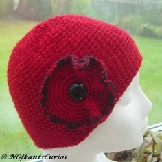 NOVEMBER 2012 - Poppies - Sweet Poppy Crocheted Hat with Vintage Glass Button detail., by NOfkantsCurios, £14