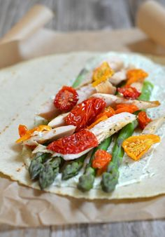 Asparagus & Chicken Wraps with Dill Cream Cheese   mountainmamacooks.com #glutenfree