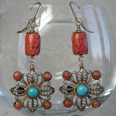 Coral Turquoise and Filigree Earrings by audreyf on Etsy $195.00