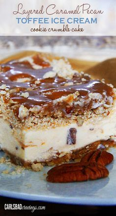 long title, but this dessert is a cinch! All my FAVORITE treats in one cake - caramel, toffee ice cream, cookie crumble and pecans! | Carlsbad Cravings