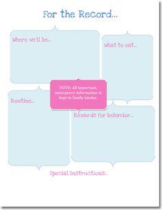 Babysitter Instruction Sheet Printable