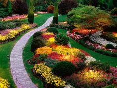 landscap, victoria bc, color, vancouver island, path, gardens, backyard, flowers garden, british columbia